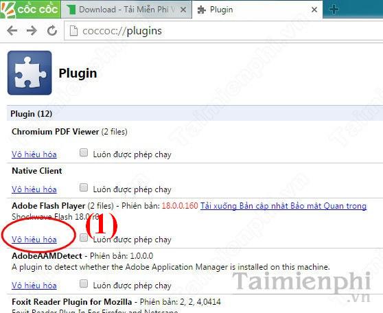 Plugin Adobe Flash Player trước khi vô hiệu hóa