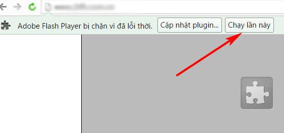 Thông báo chặn Flash trên trình duyệt Cốc Cốc