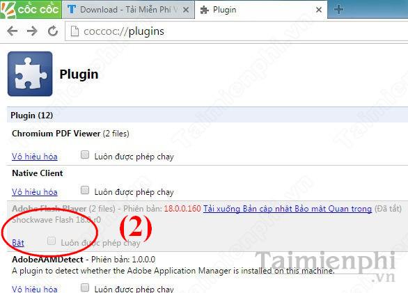 Plugin Adobe Flash Player sau khi vô hiệu hóa