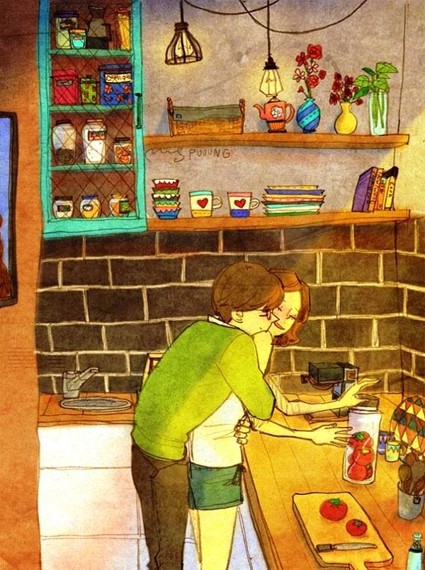 Trong nhà bếp