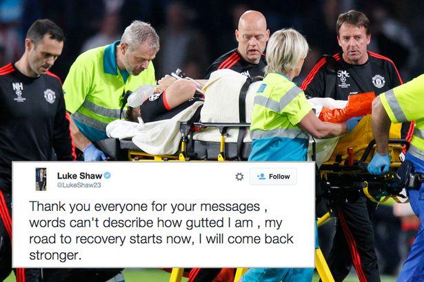 Dòng Tweet của Luke Shaw sau khi dính chấn thương.