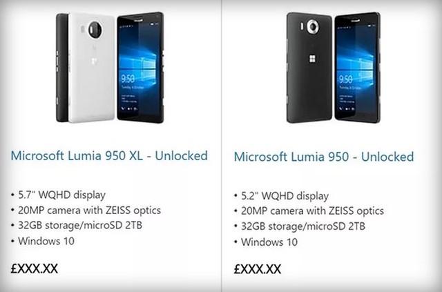 Thông tin về bộ đôi Lumia 950 và Lumia 950 XL đăng tải trên Microsoft Store