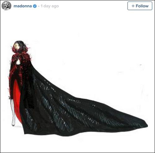 Hình ảnh bản thiết kế trang phục được Madonna đăng tải trên trang Instagram.