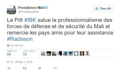 Tổng thống Mali chia sẻ trên Twitter lời cảm ơn tới các nước đồng minh đã hỗ trợ