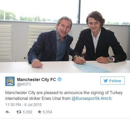 Man City đã chính thức xác nhận bản hợp đồng với Enes Unal
