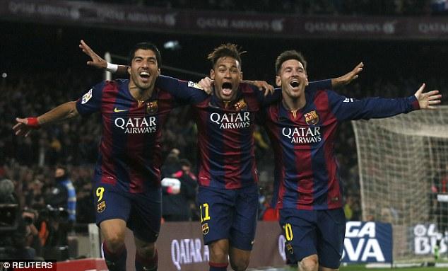 Tam tấu Suarez - Neymar - Messi đã có 55 bàn thắng kể từ đầu mùa.