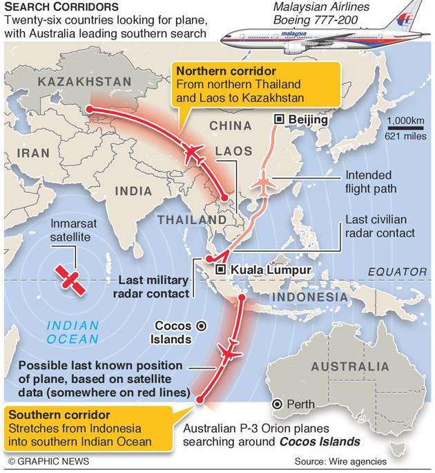 Khu vực tìm kiếm MH370 vô cùng rộng lớn