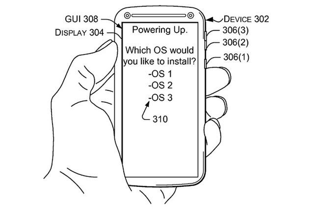 Hình ảnh từ đơn đăng ký sáng chế công nghệ chạy nhiều hệ điều hành trên smartphone của Microsoft