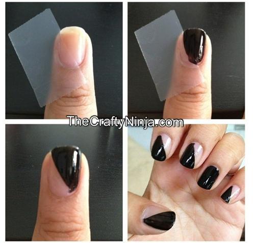 Dùng giấy cứng để sơn móng tay 2 màu với đường chéo.