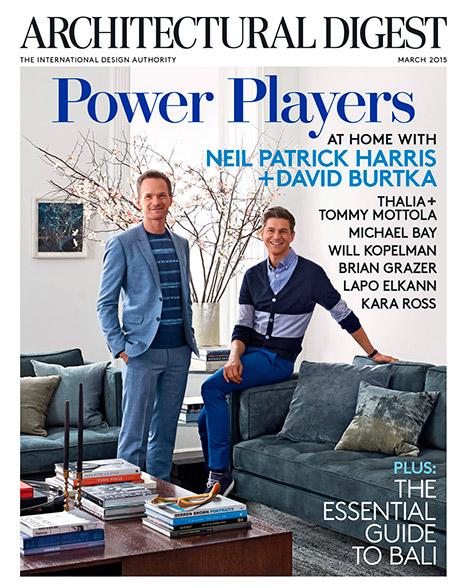 Neil Patrick Harris và David Burtka trên trang bìa của tạp chí Architectural Digest, số phát hành trong tháng 3/2015.