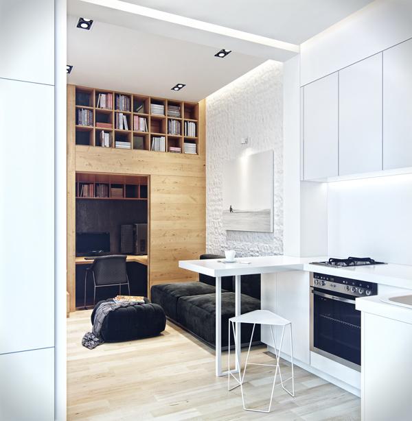 Tầng 1 ngôi nhà gồm góc bếp, nơi tiếp khách và nơi làm việc được sắp xếp chỉ trong diện tích 11m2.