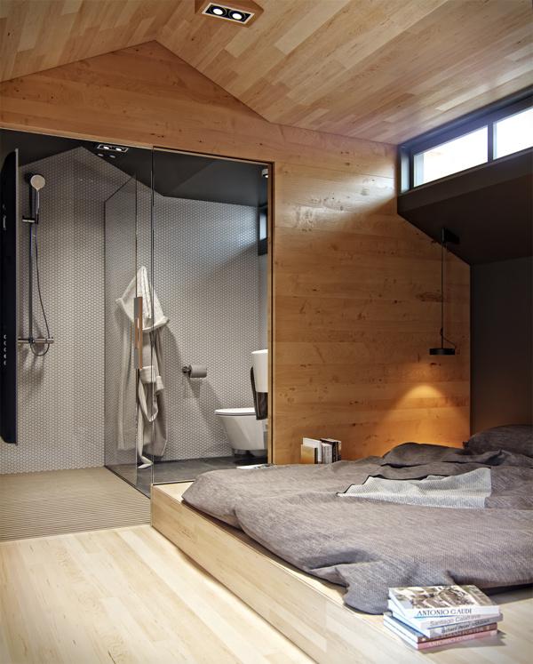 Tầng 2 là phòng ngủ và phòng tắm liền nhau.