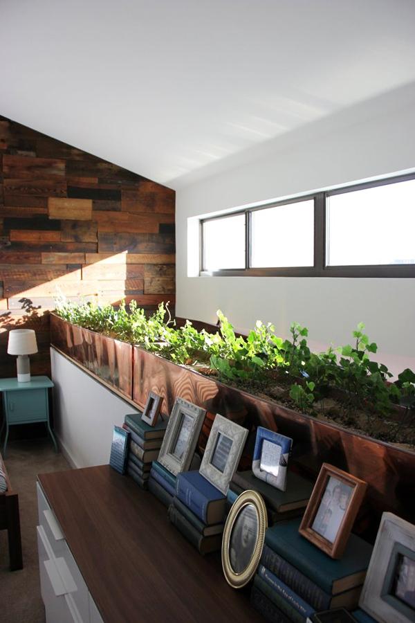 Chủ nhân tạo thêm khoảng xanh với hàng cây nhỏ bên cửa sổ.
