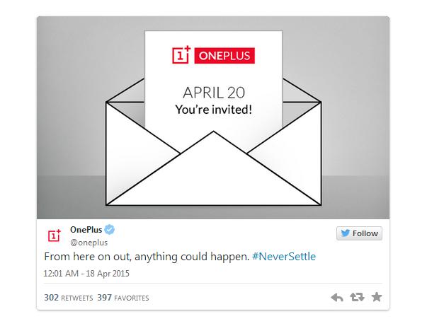 Thư mời tham dự sự kiện được đăng tải trên trang Twitter của OnePlus