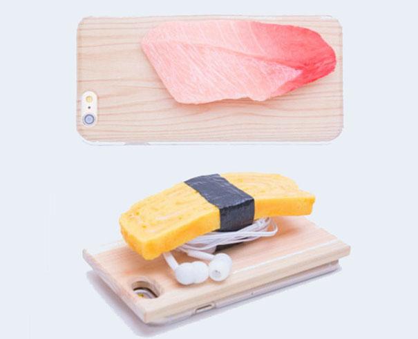 Ốp độc đáo hình sushi làm chỗ quấn tai nghe.