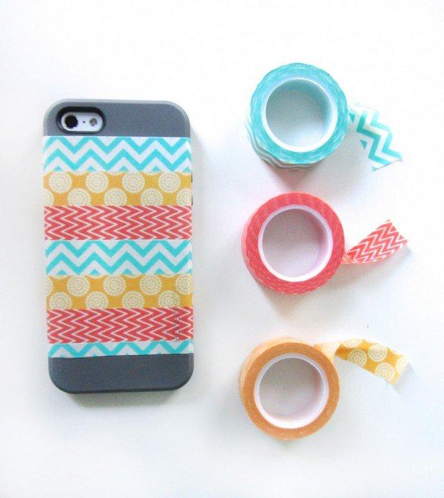 Dùng băng dính màu (washi) để tạo thêm sắc màu phong phú cho ốp.