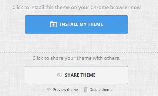 Nhấn Install my theme để cài đặt ảnh nền mới. Chọn Share theme để chia sẻ ảnh nền