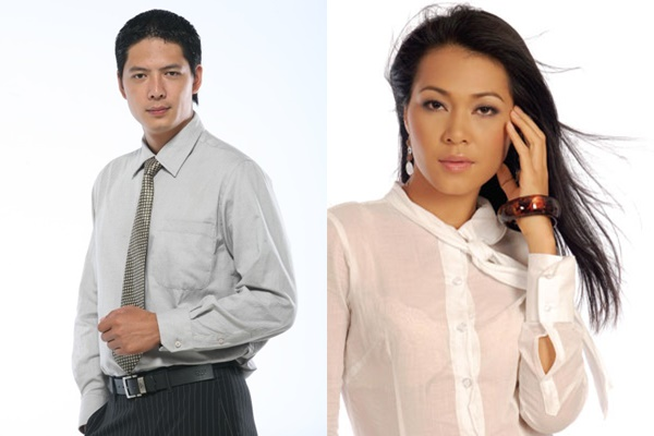 Diễn viên Bình Minh và Đinh Y Nhung.