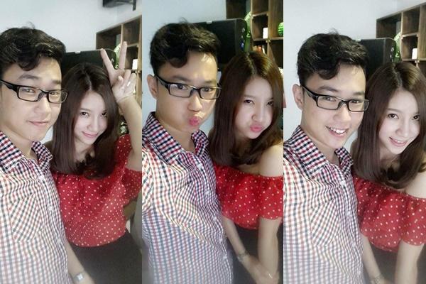 Hai diễn viên trẻ Quang Minh và Hạnh Sino chụp ảnh cùng nhau.
