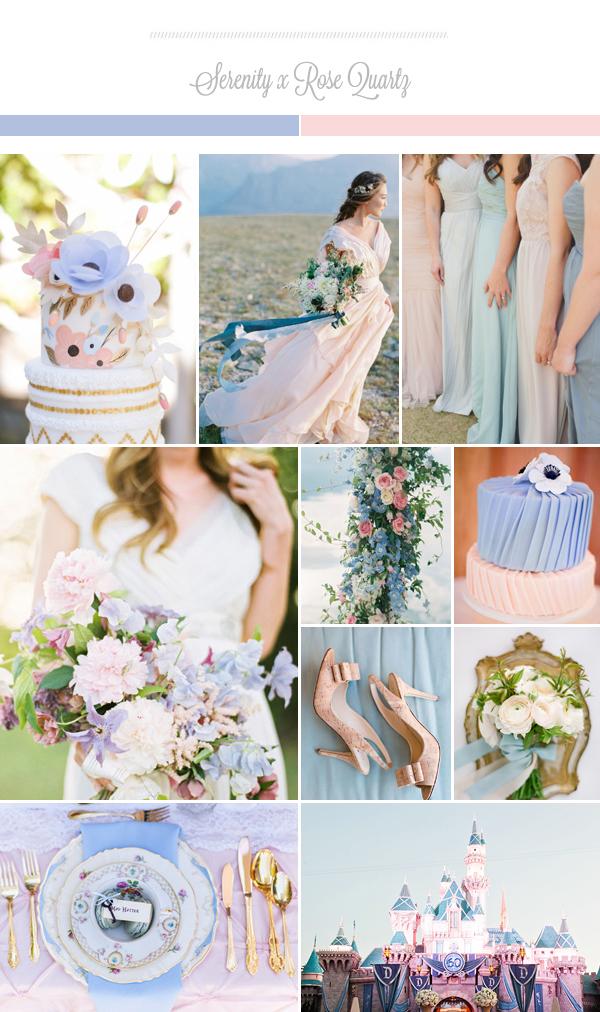 Khi sử dụng cả hai màu xanh và hồng trong đám cưới, không gian tiệc sẽ cân bằng, không quá trầm, cũng không quá nữ tính. Các cô dâu lãng mạn thường thích sự kết hợp này, nhưng cô dâu cá tính cũng có thể sử dụng các sắc màu này như màu phụ trợ cho các gam màu nổi bật, vừa thời thượng, vừa tiết chế các chi tiết.