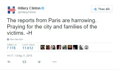 Bà Hillary Clinton, cựu Bộ trưởng Ngoại giao Hoa Kỳ, chia sẻ sự cảm thông với gia đình của các nạn nhân trong vụ khủng bố trên mạng xã hội