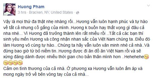 Chia sẻ của Phạm Hương trên trang Facebook cá nhân sau khi đêm CK kết thúc.