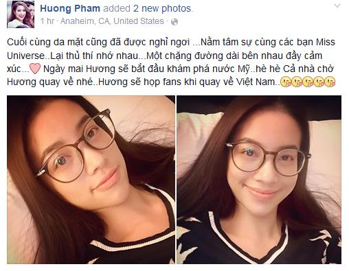 Chia sẻ mới nhất của Phạm Hương trên mạng xã hội Facebook.