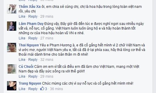 Khán giả gửi lời ngợi khen và cám ơn Phạm Hương trên mạng xã hội.