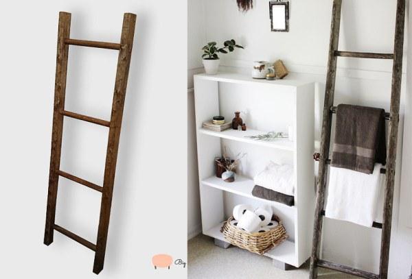 Tái sử dụng thang gỗ làm thành giá treo đồ độc đáo.