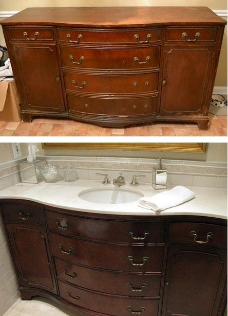 Tủ đồ cũ cũng có thể được hô biến thành tủ đồ và bồn rửa.