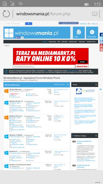 Hình ảnh trình duyệt Spartan được đăng tải trên diễn đàn WindowsMania.pl
