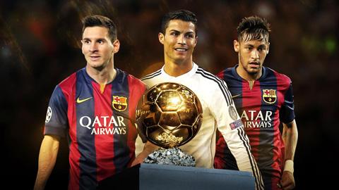 Messi, Ronaldo, Neymar là 3 ứng cử viên cuối cùng của danh hiệu Quả bóng Vàng 2015
