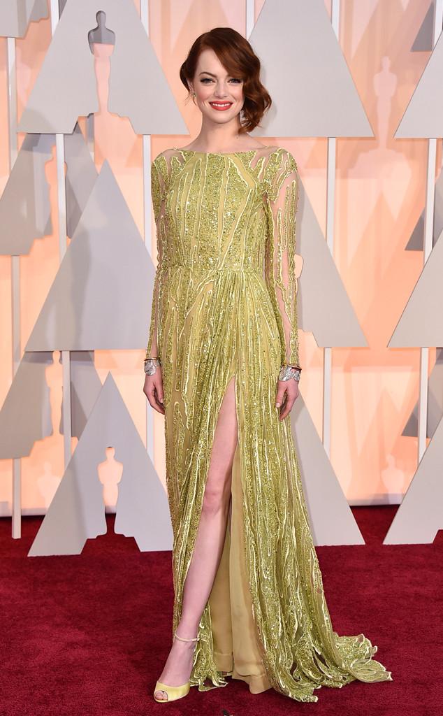 Nữ diễn viên Emma Stone rực rỡ trong sắc vàng của Elie Saab