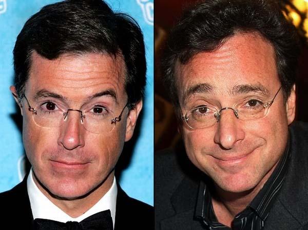 Không chỉ giống nhau trong vai trò là diễn viên, MC truyền hình nổi tiếng, Stephen Colbert và Bob Saget còn giống nhau ở gương mặt và cặp kính.