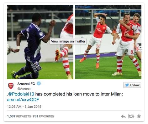 Arsenal đã xác nhận thông tin cho mượn Podolski trên trang Twitter chính thức của CLB.