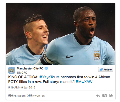 Man City gọi Yaya Toure là Vua châu Phi.
