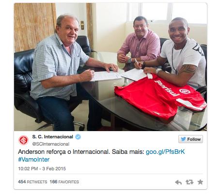 Internacional chính thức xác nhận việc sở hữu Anderson.