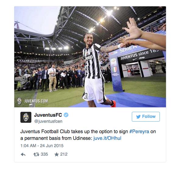 Juventus công bố sở hữu Pereyra trên Twitter chính thức của CLB.