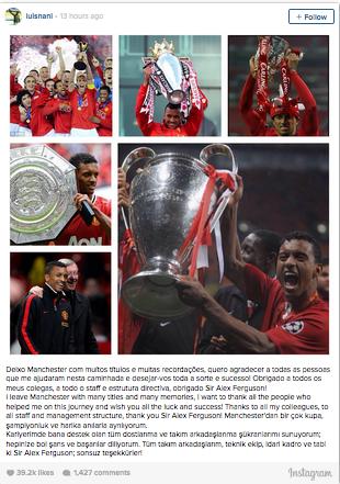 Nani chia sẻ trên Instagram cá nhân về việc chia tay Man Utd.