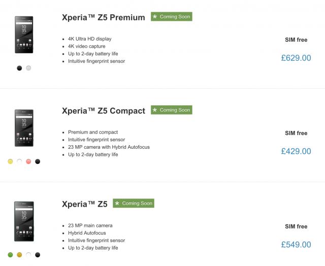 Mức giá mới của bộ ba Xperia Z5