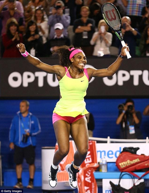 Serena nhảy cẫng vui sướng khi giành điểm vô địch khi thực hiện cú ace thành công.