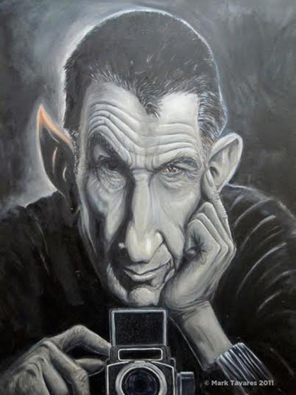 """Bức tranh sơn dầu mang tên """"Leonard Nimoy - Nhiếp ảnh gia"""" của Mark Tavares."""