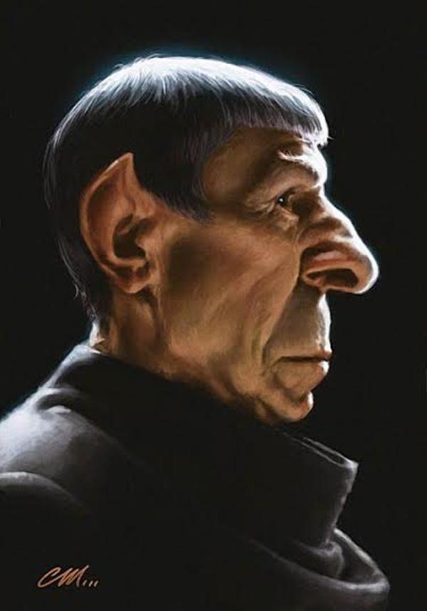 """Bức tranh biếm họa vẽ Nimoy khi ông tham gia vai Spock già trong """"Star Trek"""" mới được làm lại vào năm 2013."""