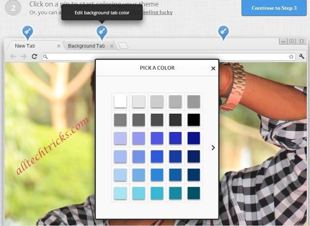 Người dùng có thể tùy chọn màu nền trên các thanh Tab