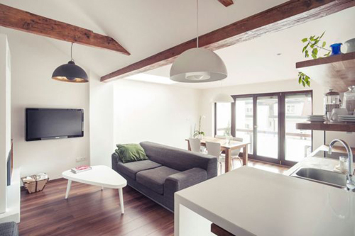 Thậm chí, một góc phòng còn có thể lắp bồn rửa và bếp để bạn tiện sinh hoạt trong không gian của cả căn phòng.