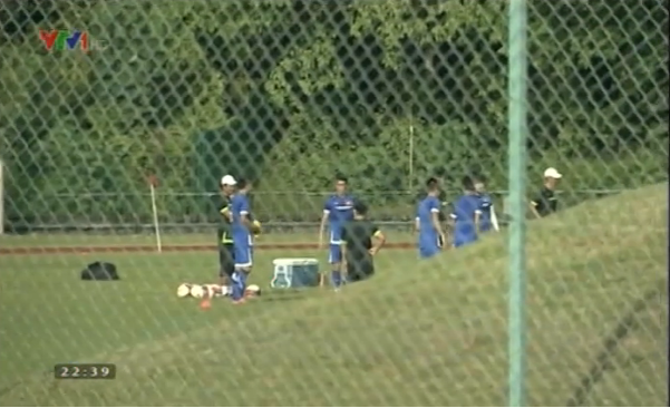 Đội tuyển U23 tập kín trước trận đấu gặp Thái Lan