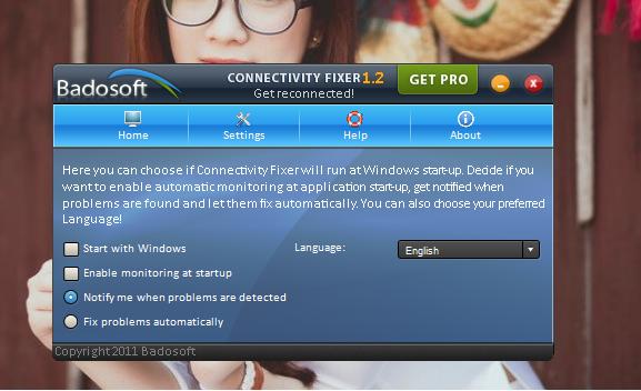 Connectivity Fixer cũng cung cấp một số các tùy chỉnh nhỏ để người dùng thiết lập trong tùy chọn Settings