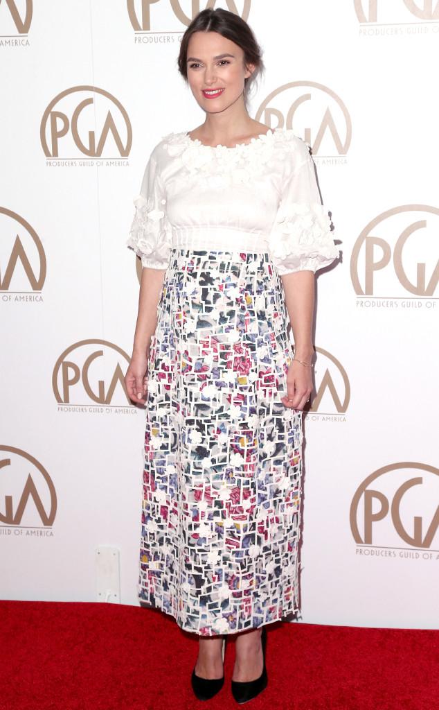 Ở một sự kiện dành cho các nhà sản xuất phim của Mỹ, thật khó nhận ra bụng bầu của Keira Knightley trong bộ váy này.