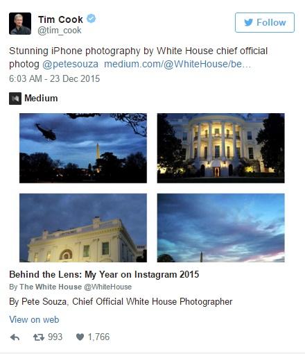 Tim Cook chia sẻ bộ ảnh của Pete Souza trên Twitter