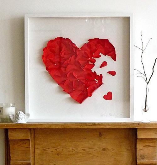 Bức tranh giấy hình trái tim đẹp mắt.